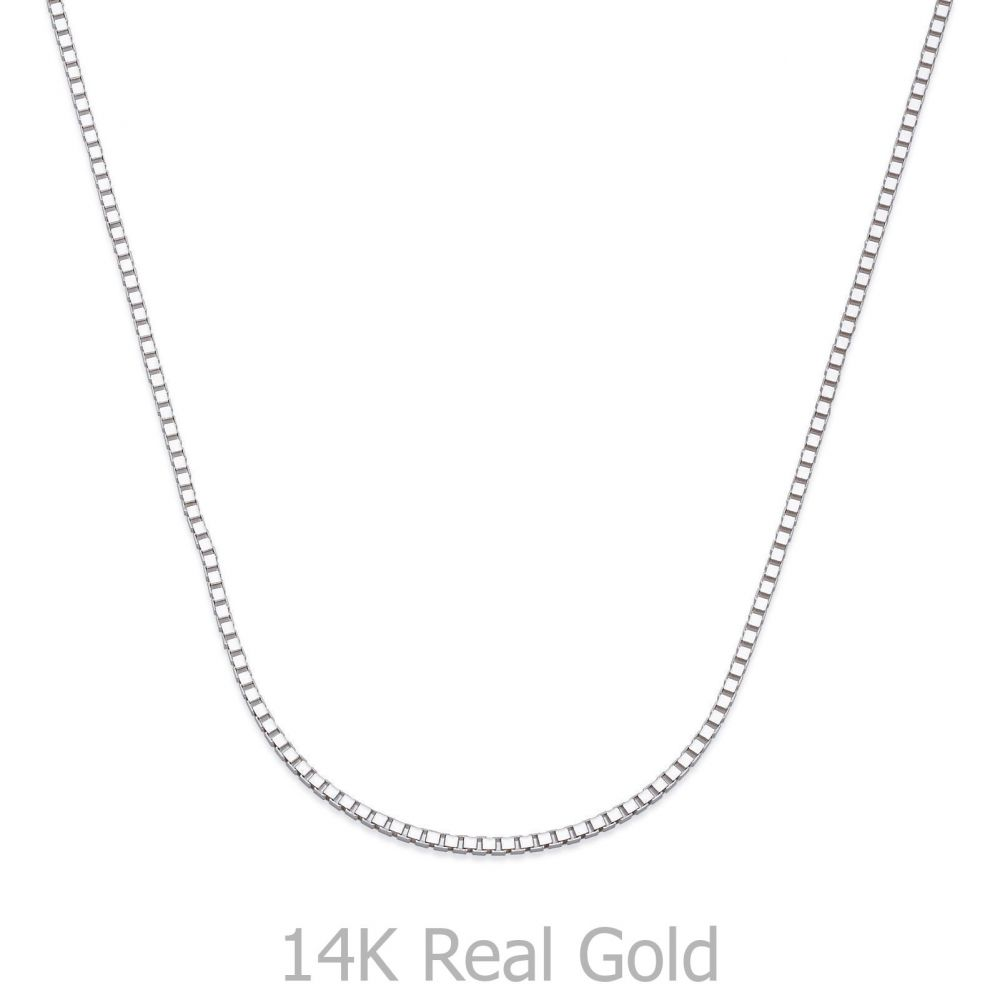 Gold Chains | 14K White Gold Venice Chain Necklace 0.8mm Thick, 19.5