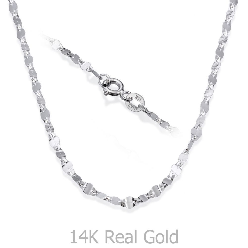 Gold Chains | 14K White Gold Forzata Chain Necklace 2.4mm Thick, 21.45