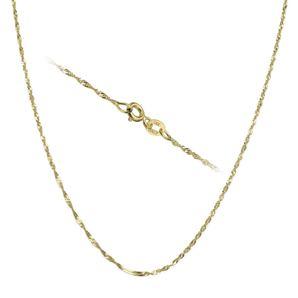 Gold Chains | 14K Yellow Gold Singapore Chain Necklace 1.2mm Thick, 16.5