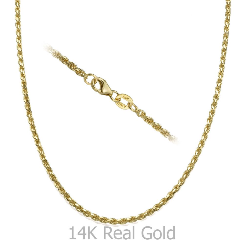 14K Yellow Gold Rope Chain Necklace 1.9mm Thick 967d289f0a