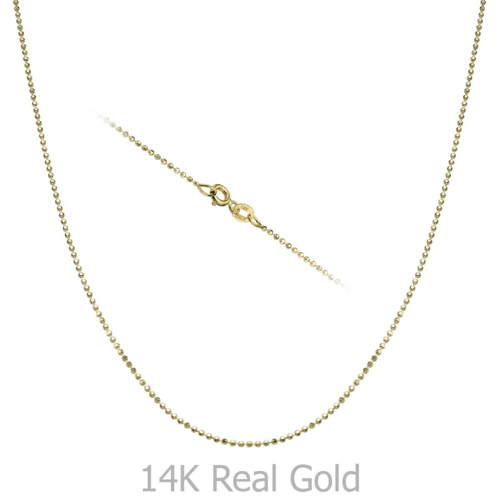 Gold Chains | 14K Yellow Gold Balls Chain Necklace 0.9mm Thick, 17.7