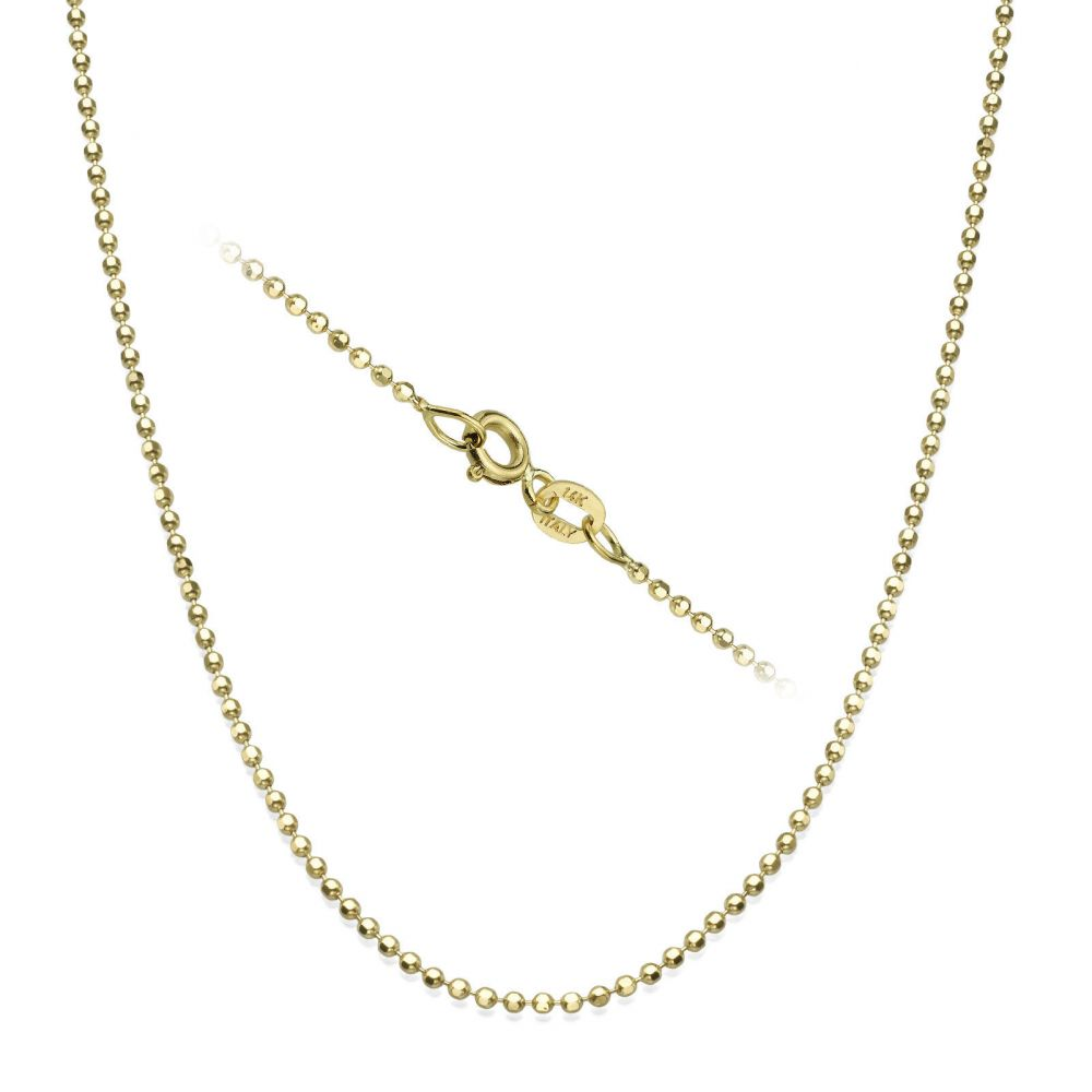 Gold Chains | 14K Yellow Gold Balls Chain Necklace 1.4mm Thick, 17.7