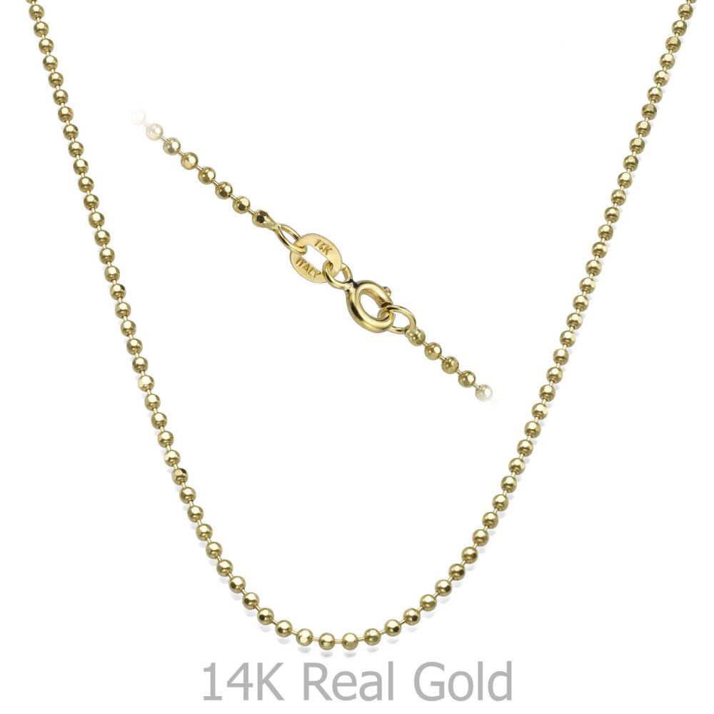 Gold Chains | 14K Yellow Gold Balls Chain Necklace 1.8mm Thick, 21.6