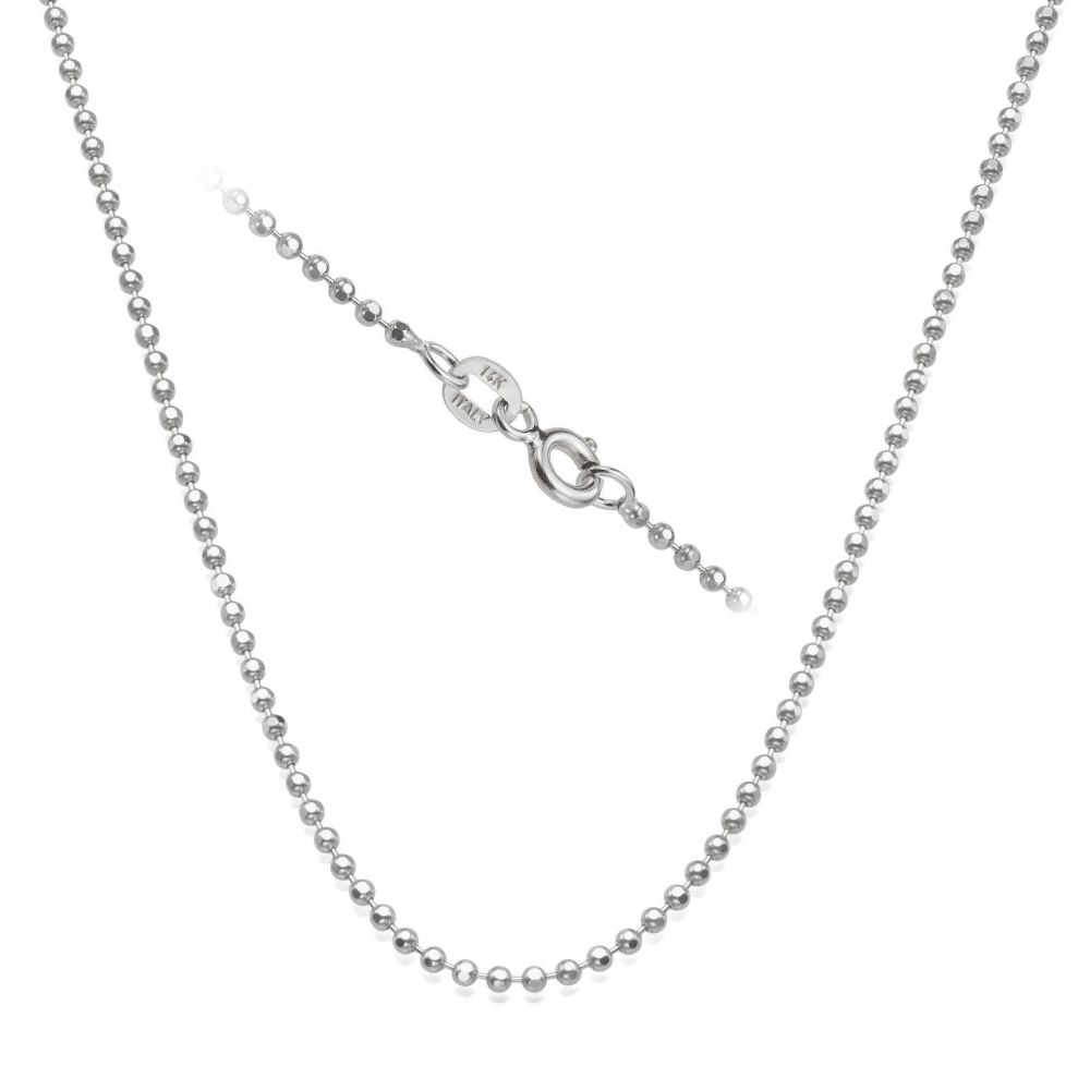 Gold Chains | 14K White Gold Balls Chain Necklace 1.8mm Thick, 17.7