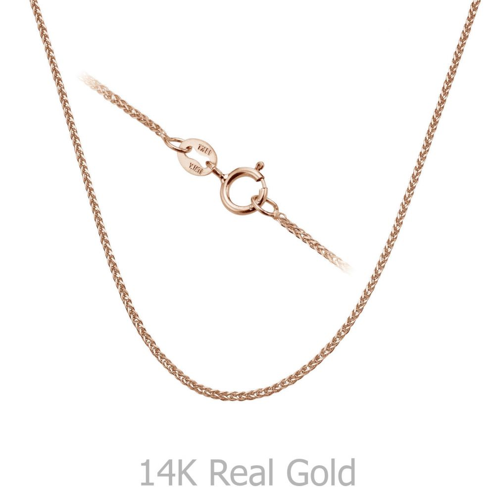 Gold Chains | 14K Rose Gold Spiga Chain Necklace 0.8mm Thick, 16.5