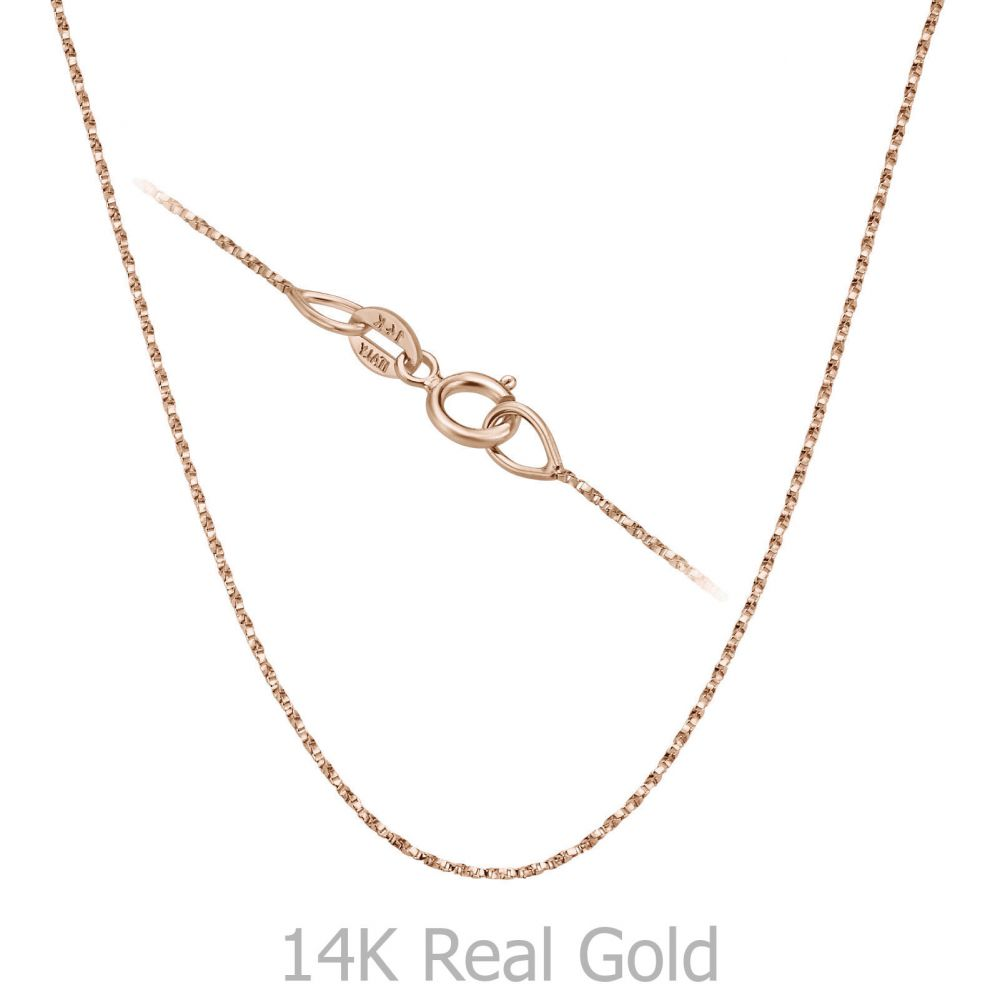 Gold Chains | 14K Rose Gold Twisted Venice Chain Necklace 0.6mm Thick, 16.5