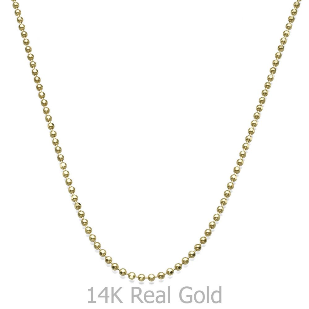 Jewelry for Men | 14K Yellow Gold Chain for Men Balls 1.8mm Thick, 19.7