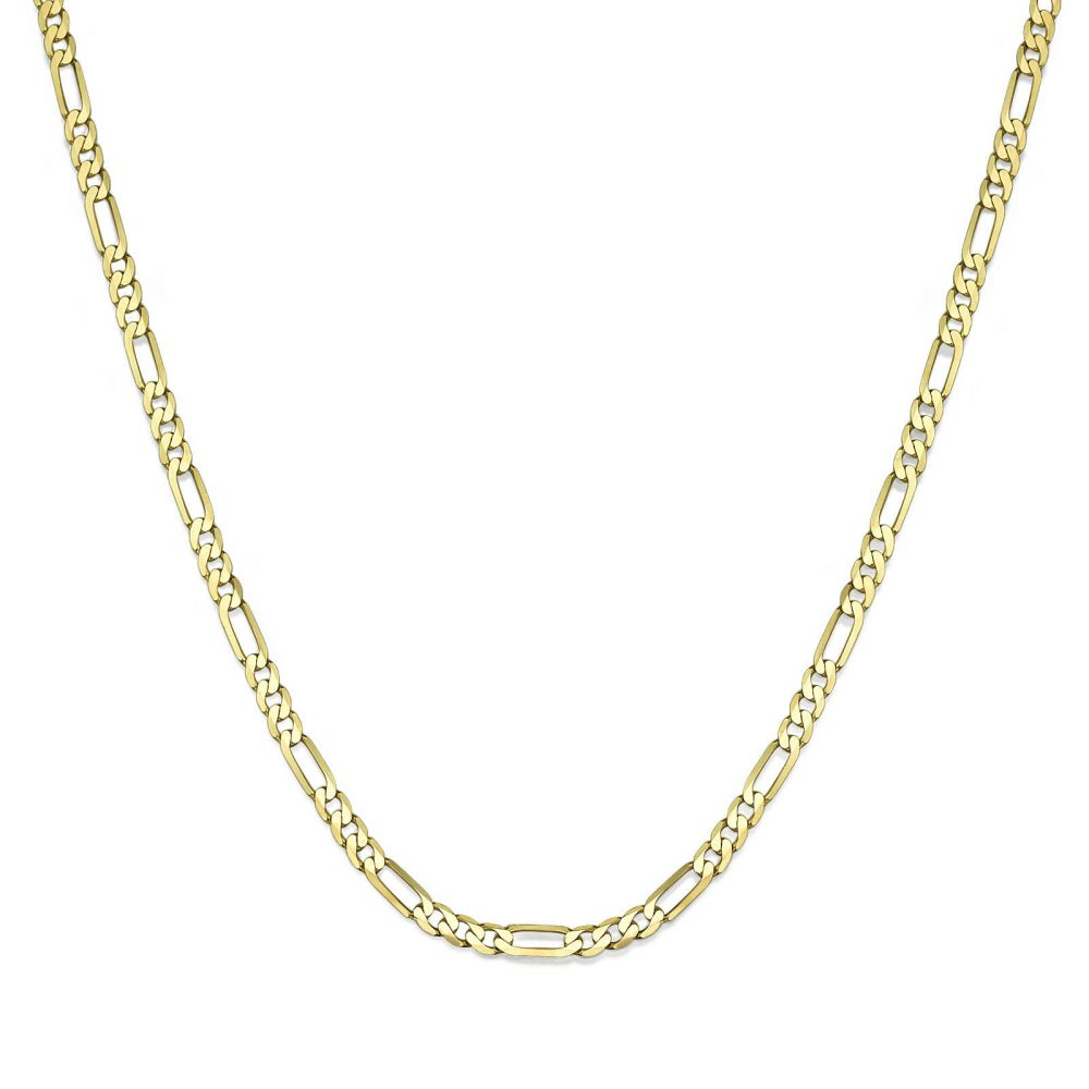 Jewelry for Men | 14K Yellow Gold Chain for Men Figaro 3.06mm Thick, 23.6