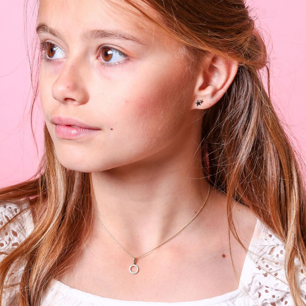 Girl's Jewelry | Stud Earrings in 14K White & Yellow Gold - Two Stars