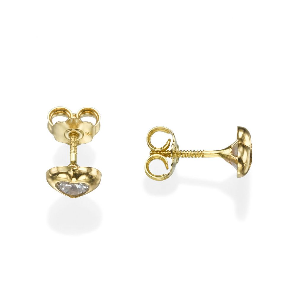 Girl's Jewelry | 14K Yellow Gold Kid's Stud Earrings - Sparkling Heart