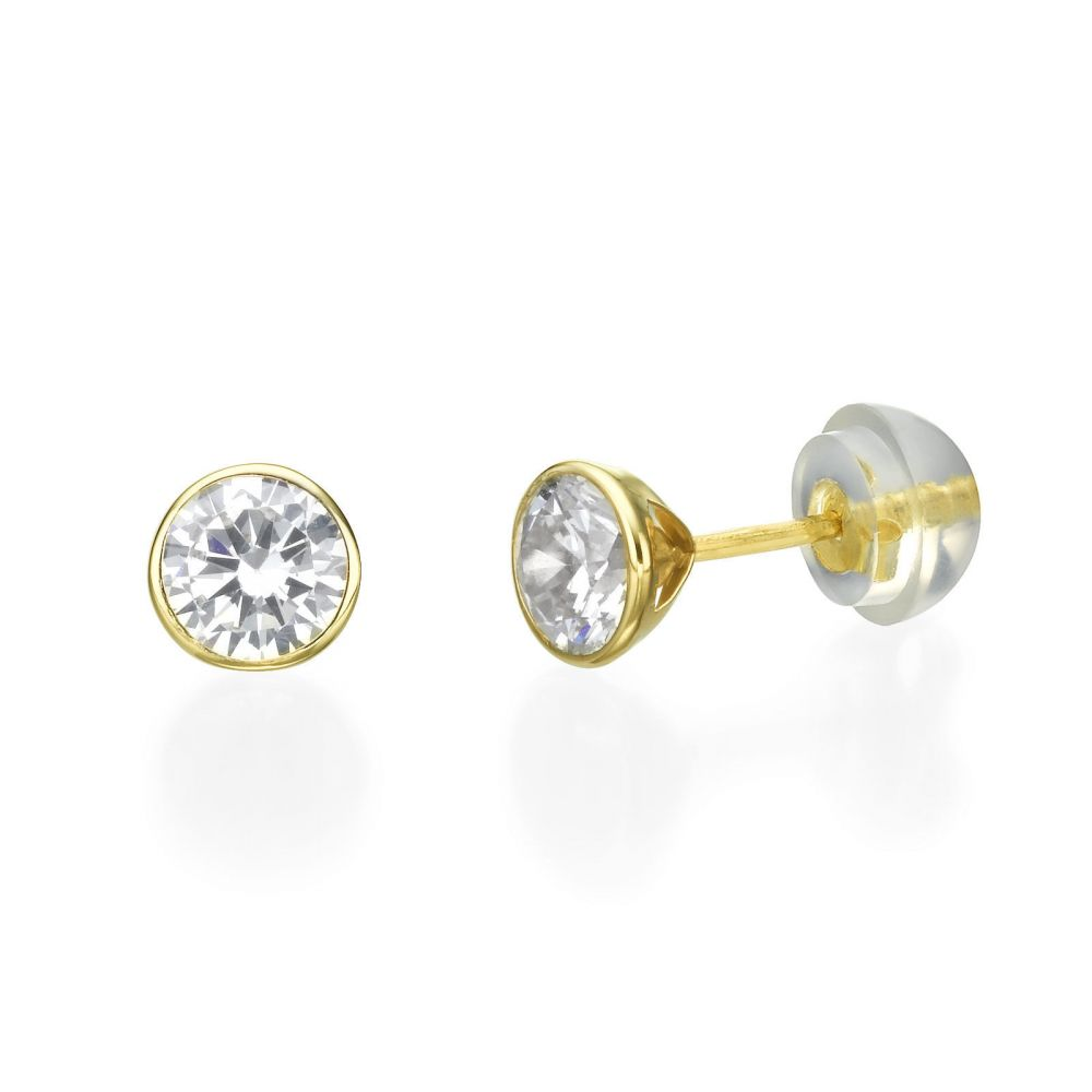 S Jewelry Stud Earrings In 14k Yellow Gold Circle Of Monica
