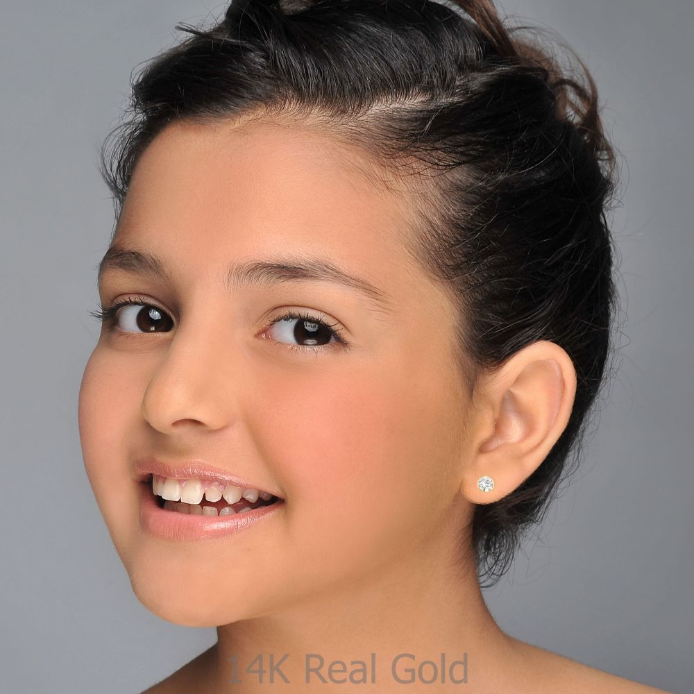 Girl's Jewelry | Stud Earrings in 14K Yellow Gold - Circle of Monica