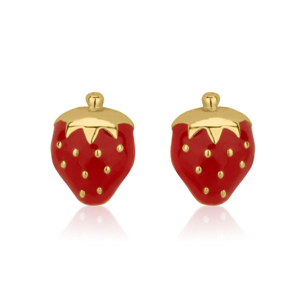 Girl's Jewelry | Stud Earrings in 14K Yellow Gold - Sweet Strawberry