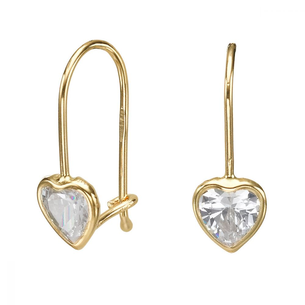 Gold Earrings | Dangle Earrings in14K Yellow Gold - Heart of Light