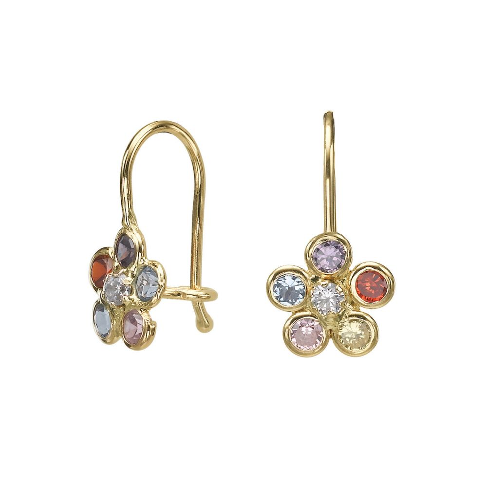 Gold Earrings | Dangle Earrings in14K Yellow Gold - Michaella Flower