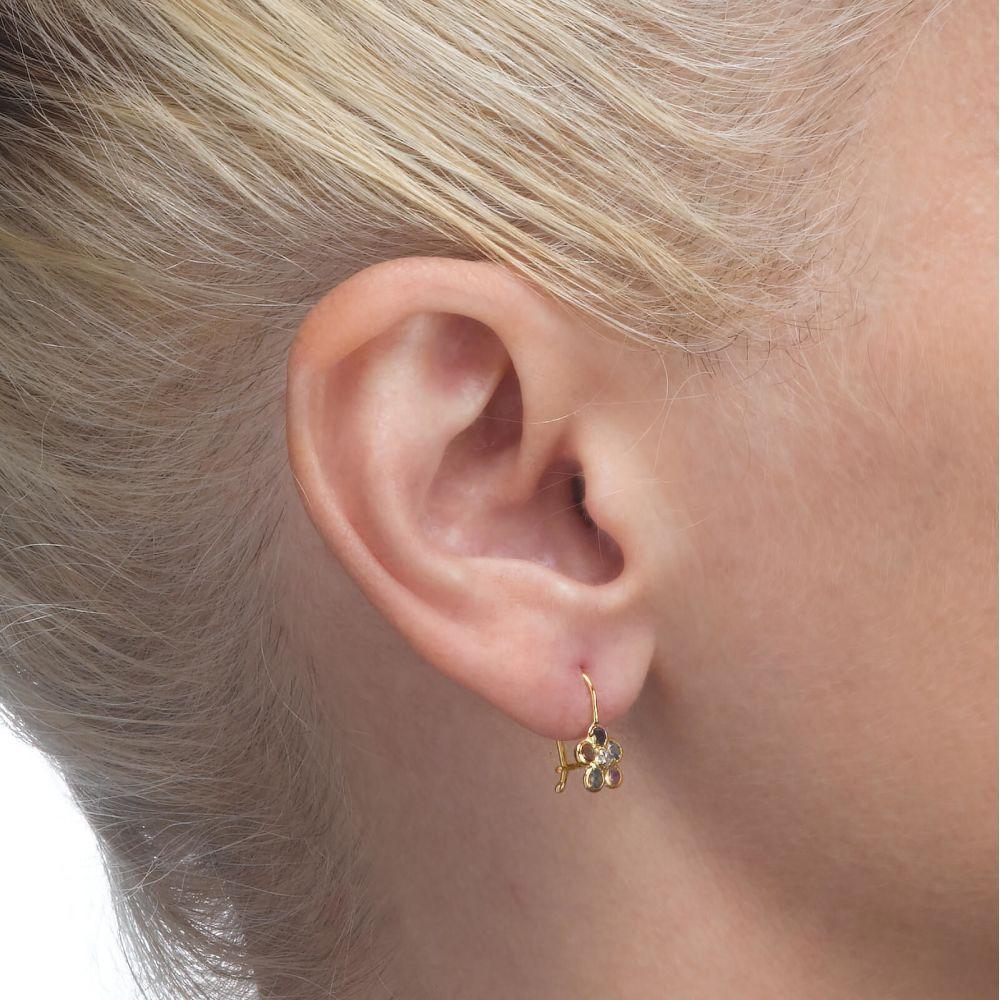 Gold Earrings | Dangle Earrings in14K Yellow Gold - Michaella Flower