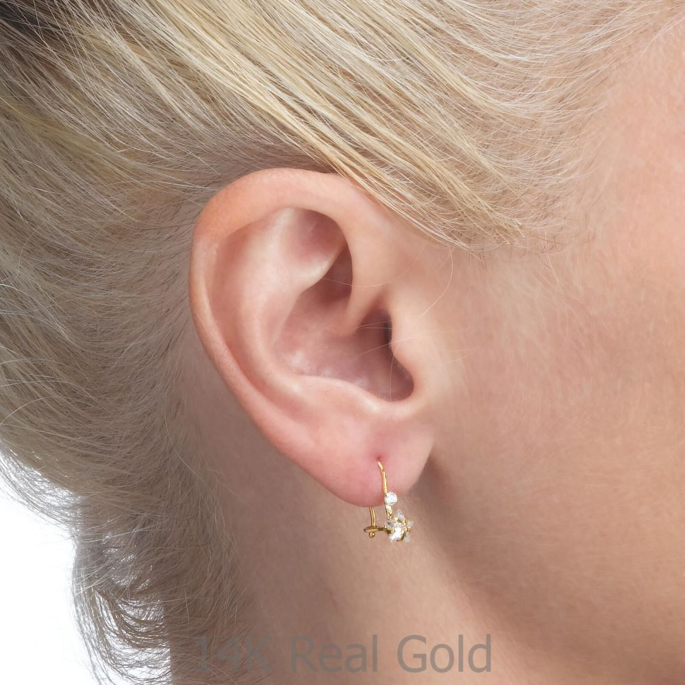 Girl's Jewelry | Dangle Earrings in14K Yellow Gold - Northern Star