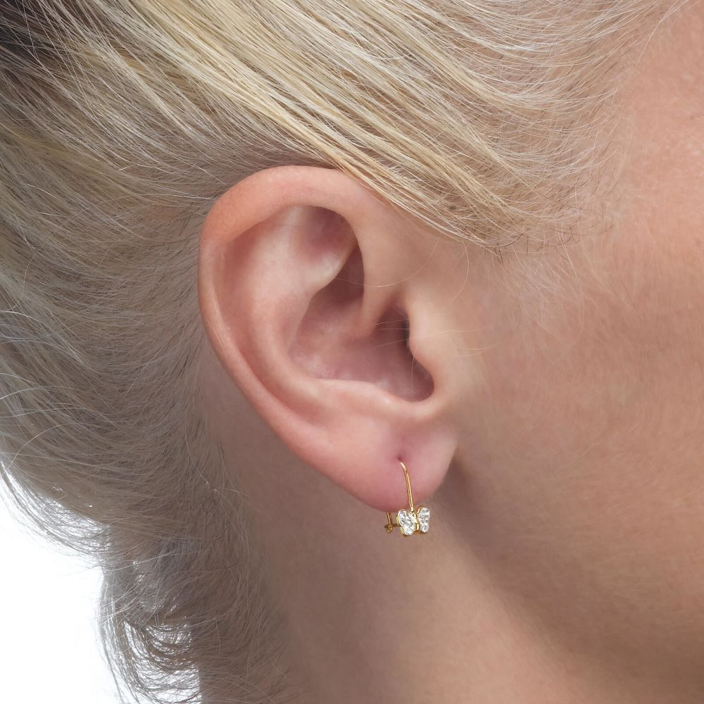 Girl's Jewelry | Dangle Earrings in14K Yellow Gold - Corinne Butterfly
