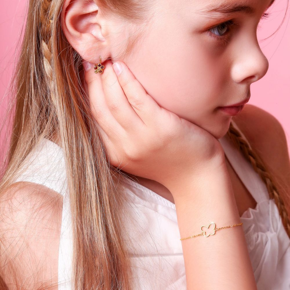 Girl's Jewelry | 14K Gold Girls' Bracelet - Shining Butterfly