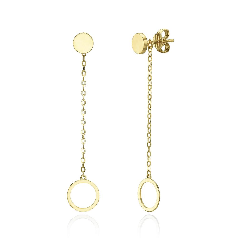 Women S Gold Jewelry Drop And Dangle Earrings In 14k Yellow Dangling Circles