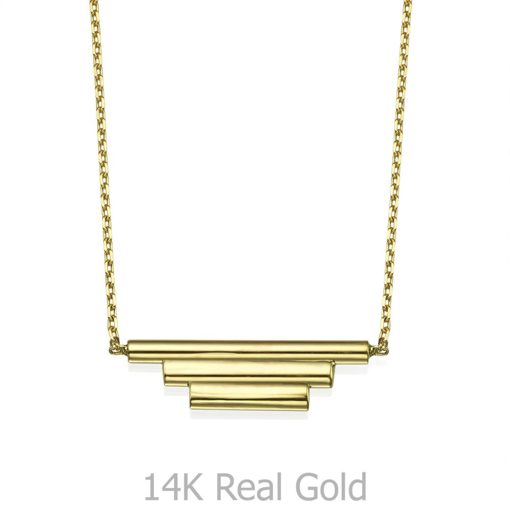 Women's Gold Jewelry | Pendant and Necklace in 14K Yellow Gold - Golden Trio