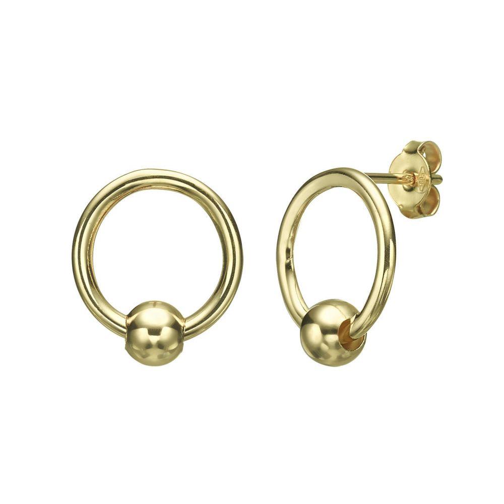 Women's Gold Jewelry | Stud Earrings in 14K Yellow Gold - Lower Sphere