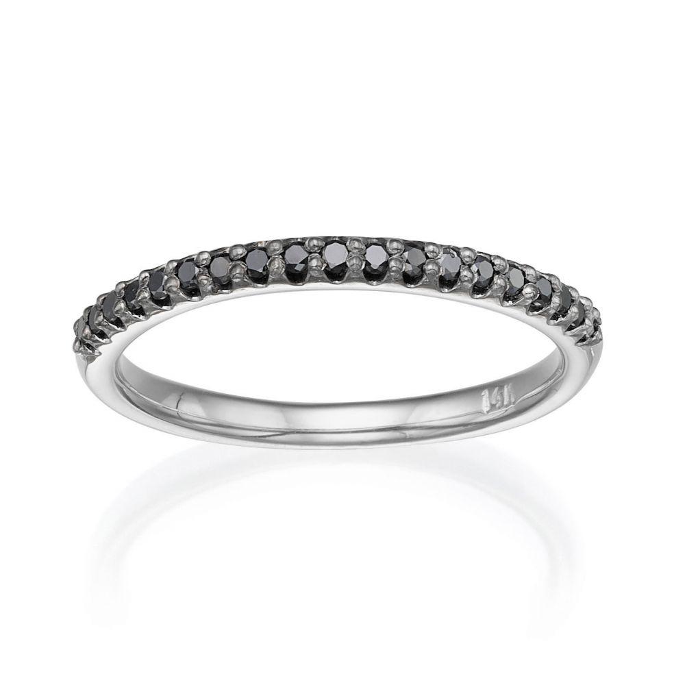 Diamond Jewelry | Black Diamond Band Ring in 14K White Gold - Ice Princess