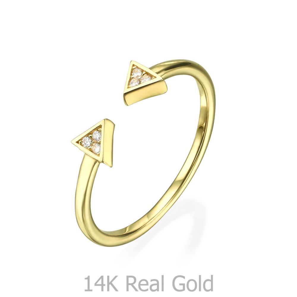Women's Gold Jewelry | 14K Yellow Gold Rings - Sparkling Triangles