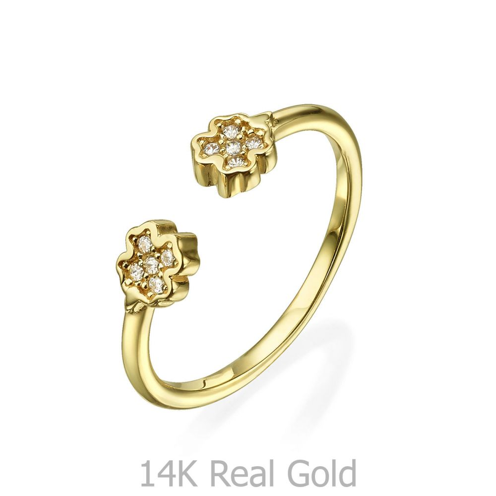 Women's Gold Jewelry | Open Ring in 14K Yellow Gold - Sparkling Clovers