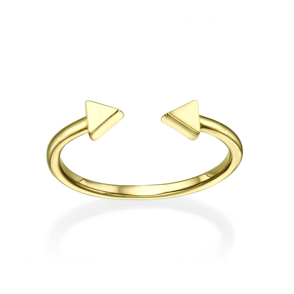 Women's Gold Jewelry | Open Ring in 14K Yellow Gold - Triangles