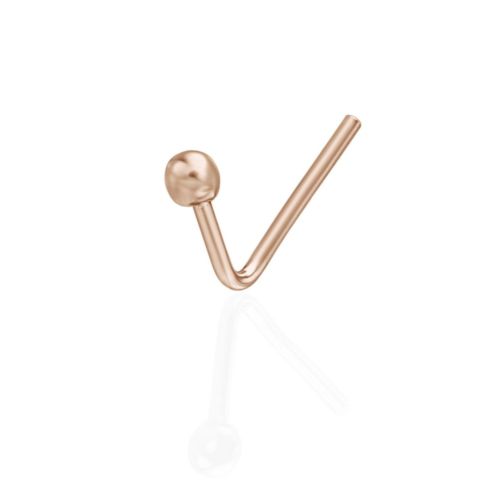 Curved Nose Stud Piercing In 14k Rose Gold With Gold Ball Youme