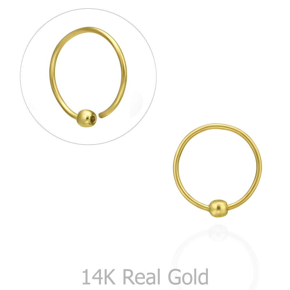 Piercing | Helix / Tragus Piercing in 14K Yellow Gold with Gold Ball - Small