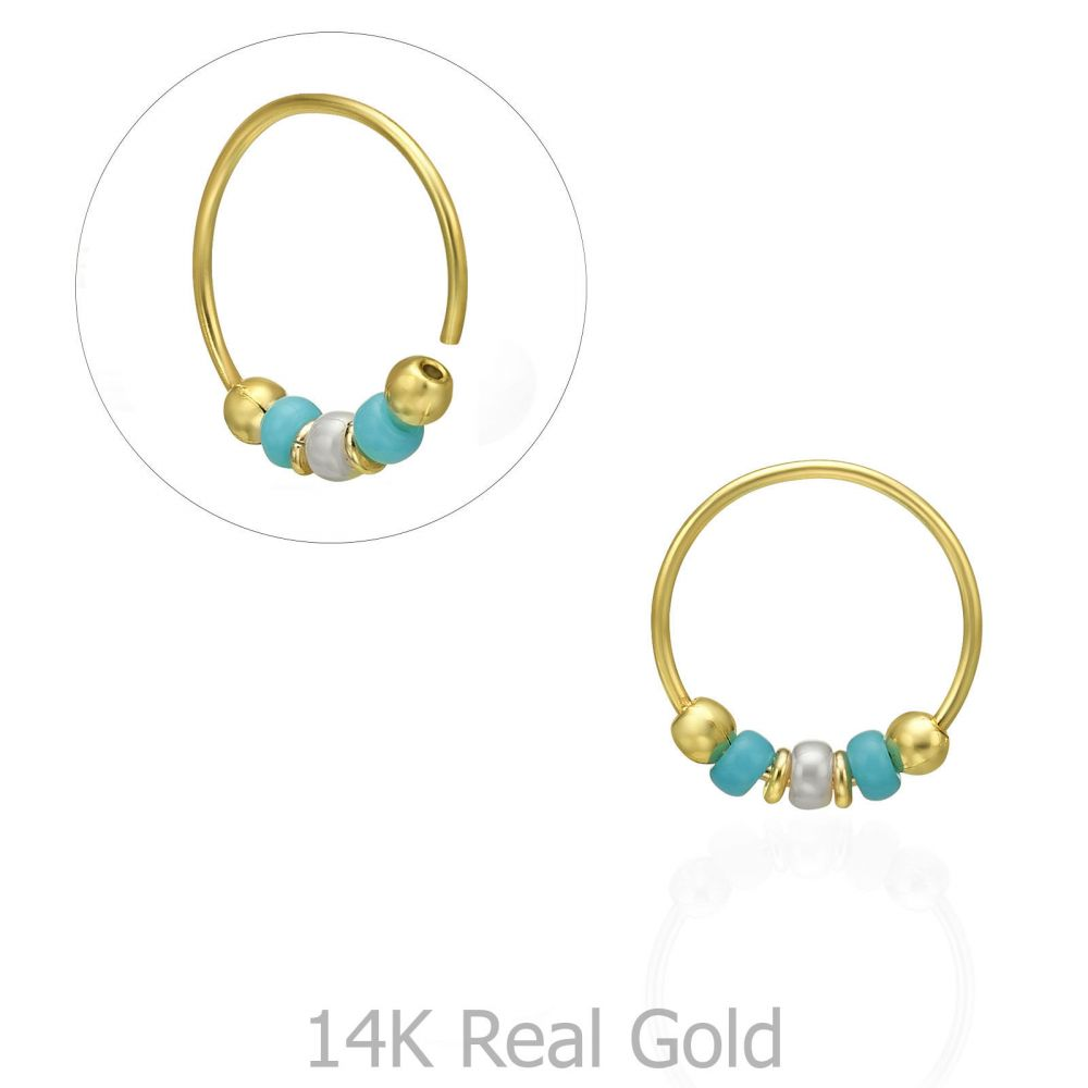 Piercing | Helix / Tragus Piercing in 14K Yellow Gold with Turquoise Beads - Small