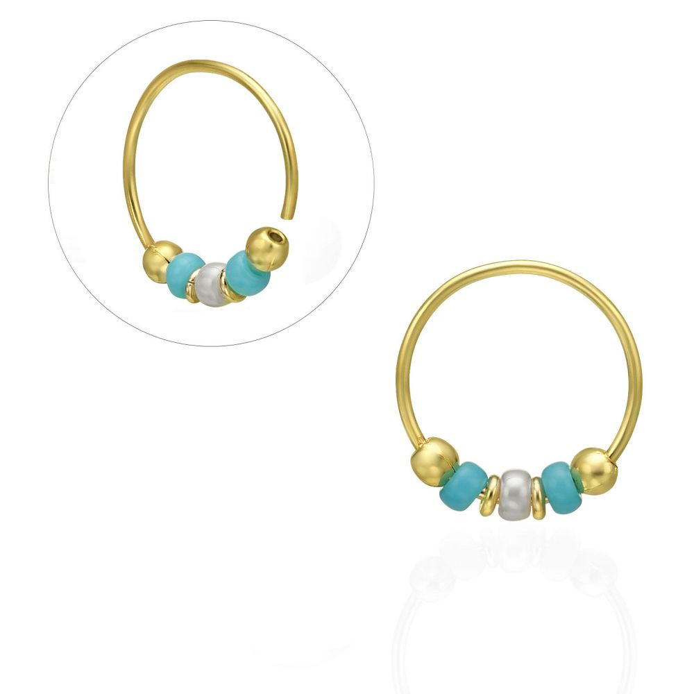 Piercing | Helix / Tragus Piercing in 14K Yellow Gold with Turquoise Beads - Large