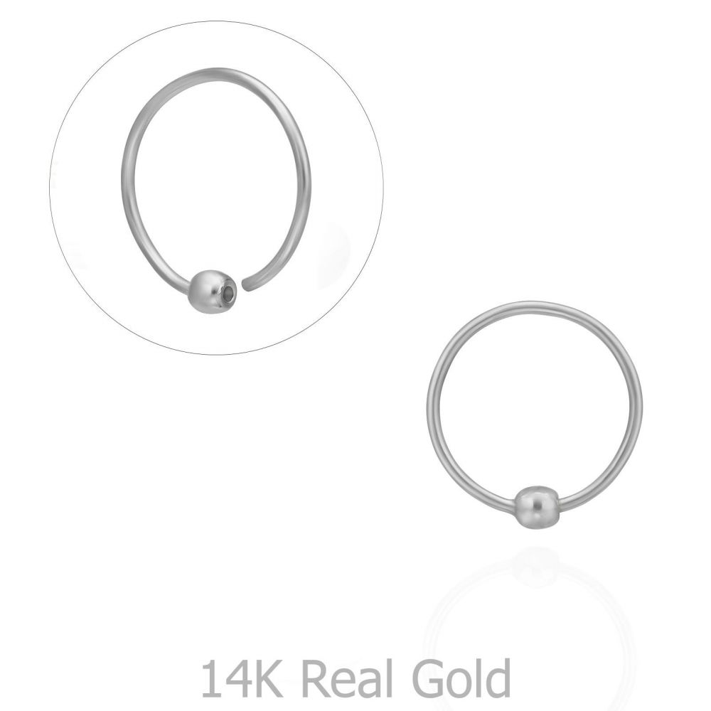 Piercing | Helix / Tragus Piercing in 14K White Gold with Gold Ball - Small