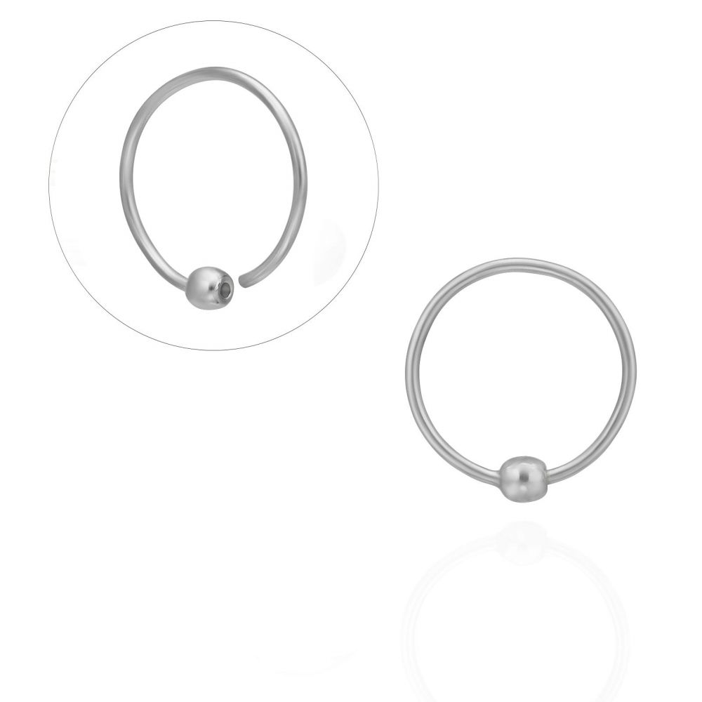 Piercing | Helix / Tragus Piercing in 14K White Gold with Gold Ball - Large