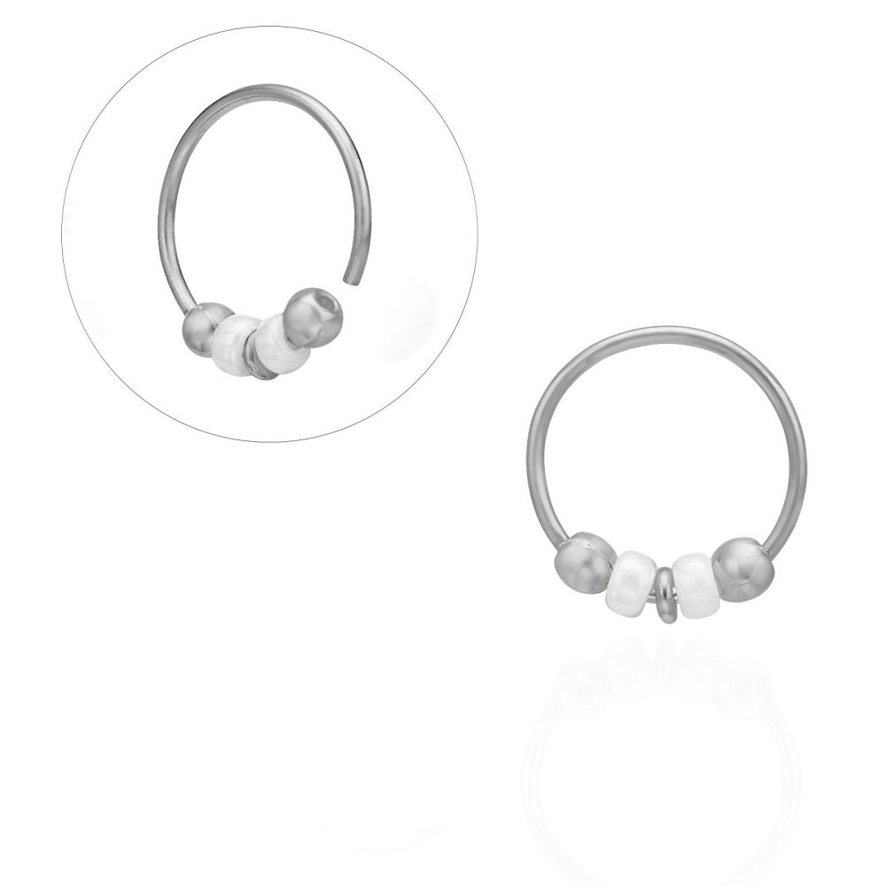 Piercing | Helix / Tragus Piercing in 14K White Gold with Black Beads - Large