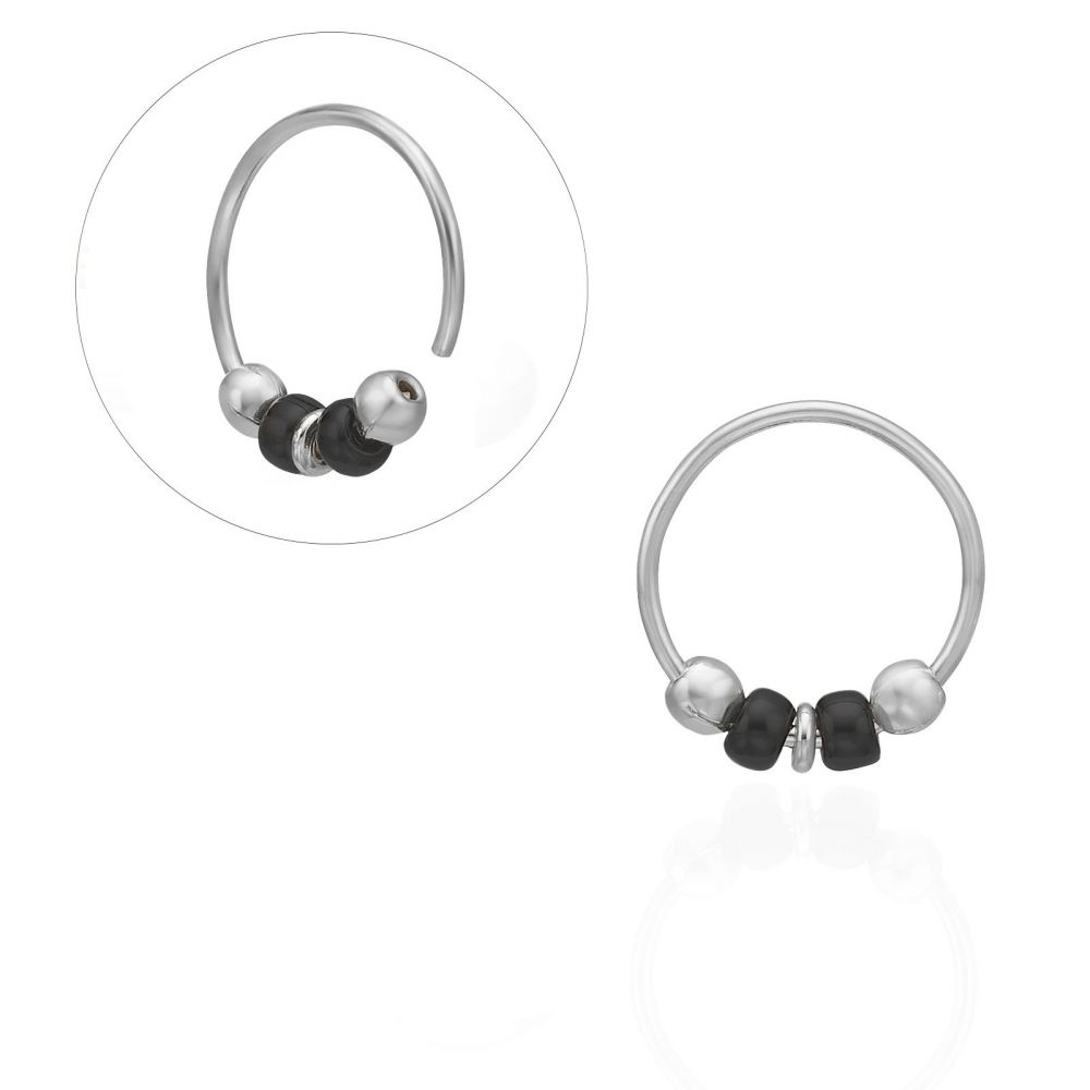 Piercing | Helix / Tragus Piercing in 14K White Gold with White Beads - Large