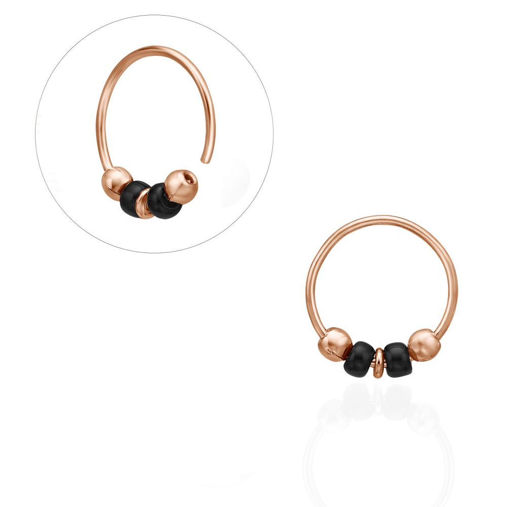 Piercing | Helix / Tragus Piercing in 14K Rose Gold with Black Beads - Small