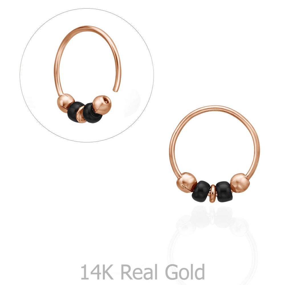Piercing | Helix / Tragus Piercing in 14K Rose Gold with White Beads - Large