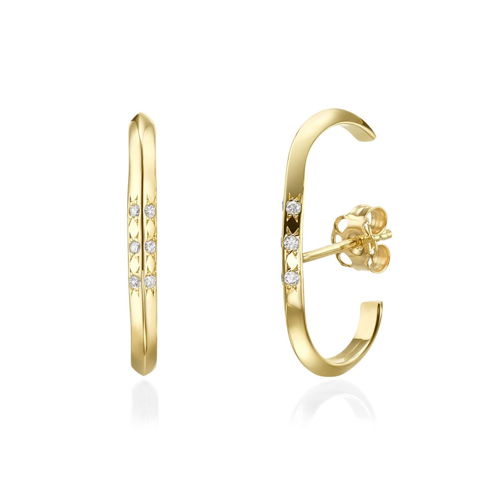 Diamond Jewelry | Diamond Cuff Earrings in 14K Yellow Gold - Twist