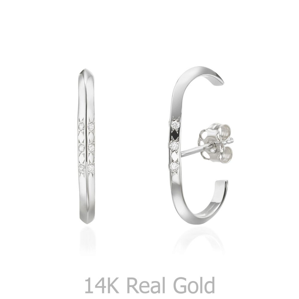 Diamond Jewelry | Diamond Cuff Earrings in 14K White Gold - Twist