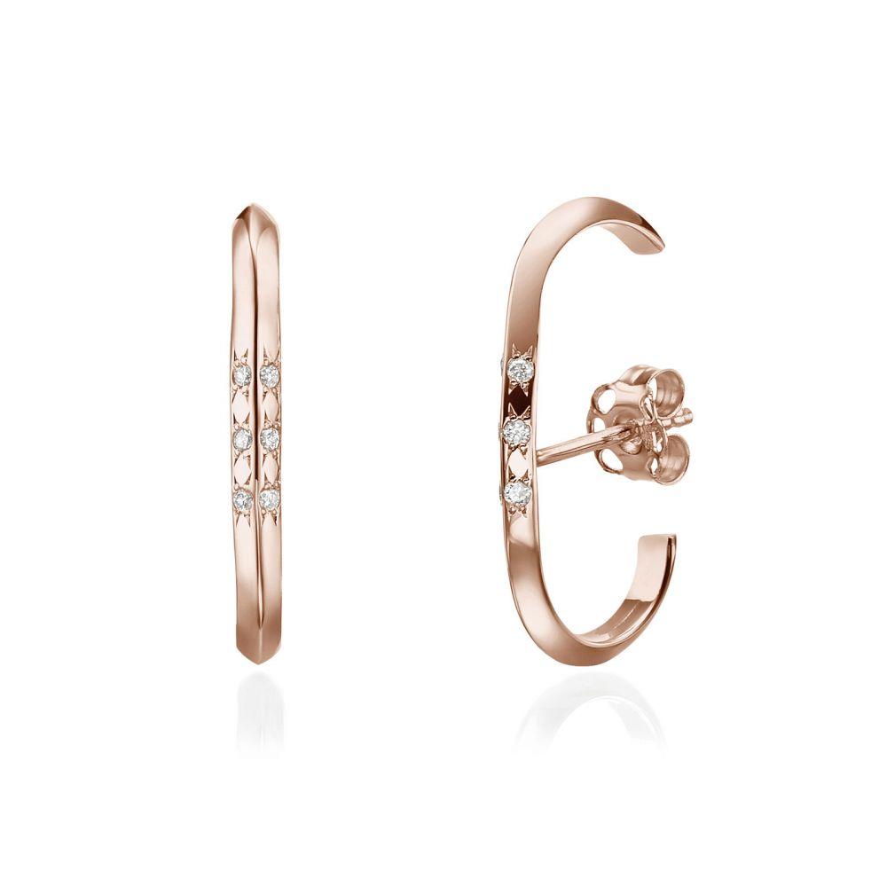 Diamond Jewelry | Diamond Cuff Earrings in 14K Rose Gold - Twist