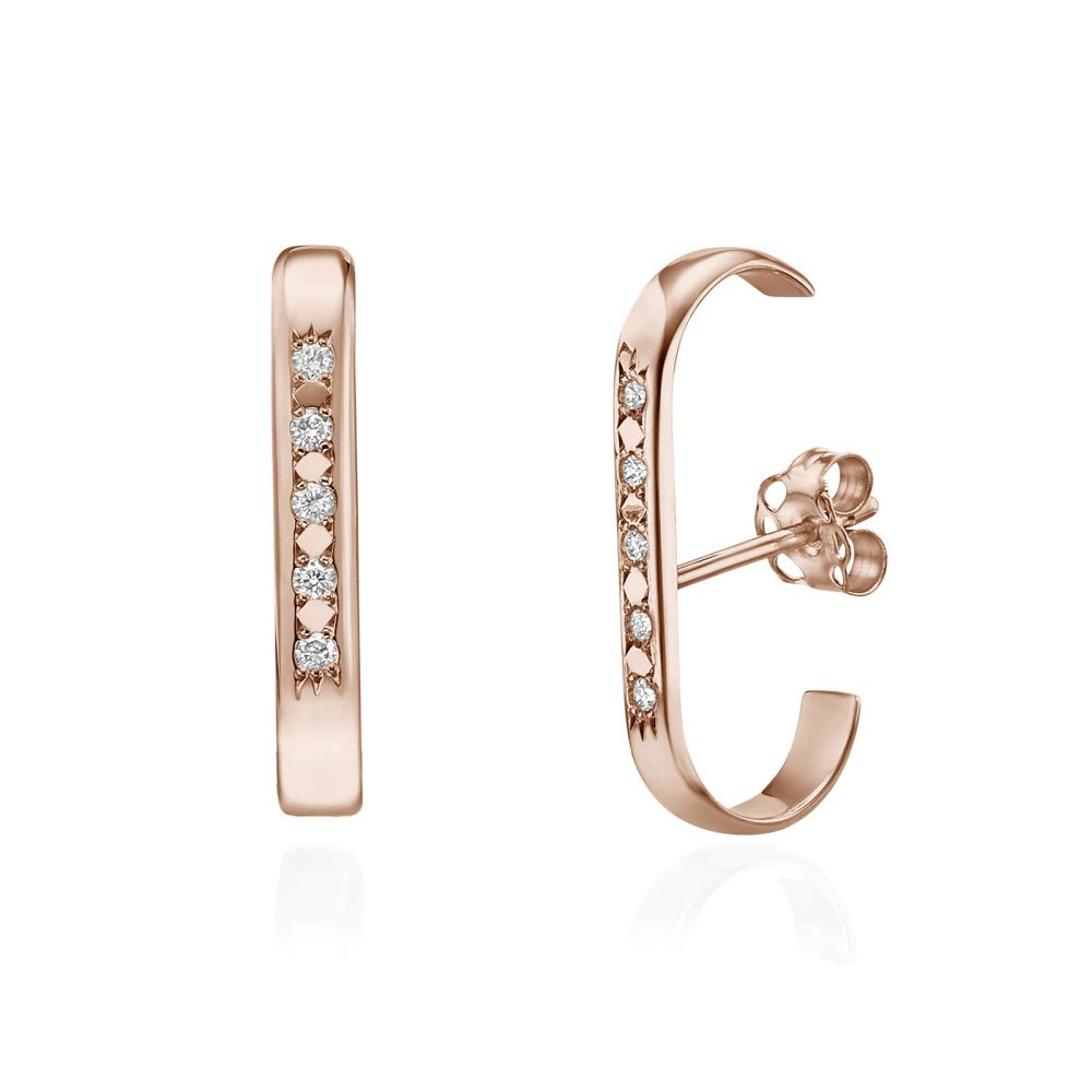 Diamond Jewelry Cuff Earrings In 14k Rose Gold High Five