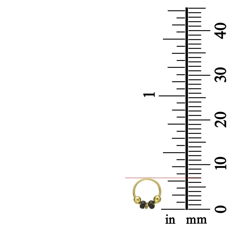 Piercing | Helix / Tragus Piercing in 14K Yellow Gold with Black Beads - Small