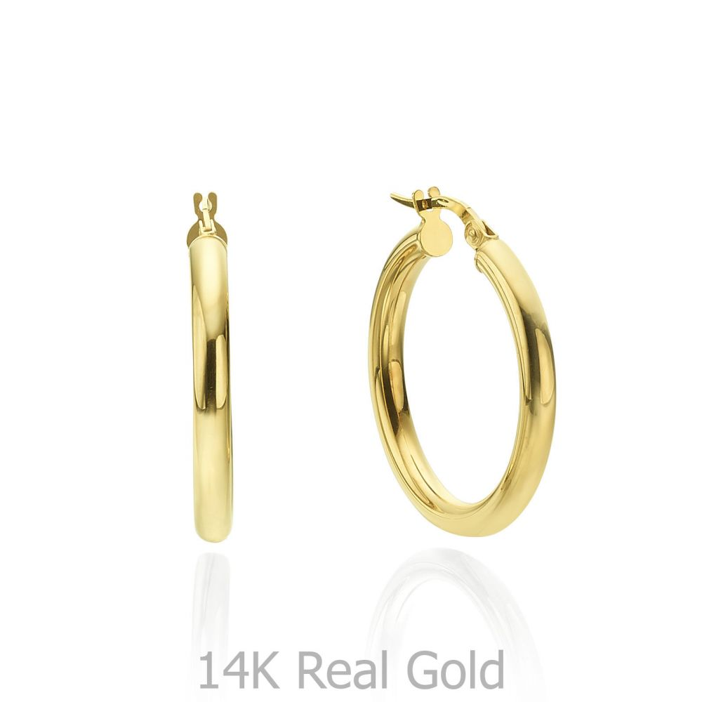 Women's Gold Jewelry | 14K Yellow Gold Women's Earrings - M (thin)