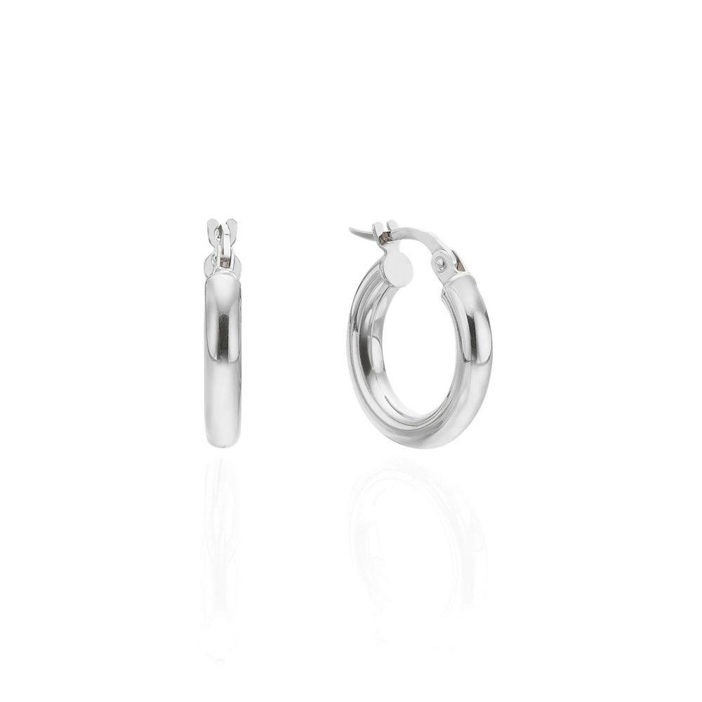 Women's Gold Jewelry | Hoop Earrings in 14K White Gold - S