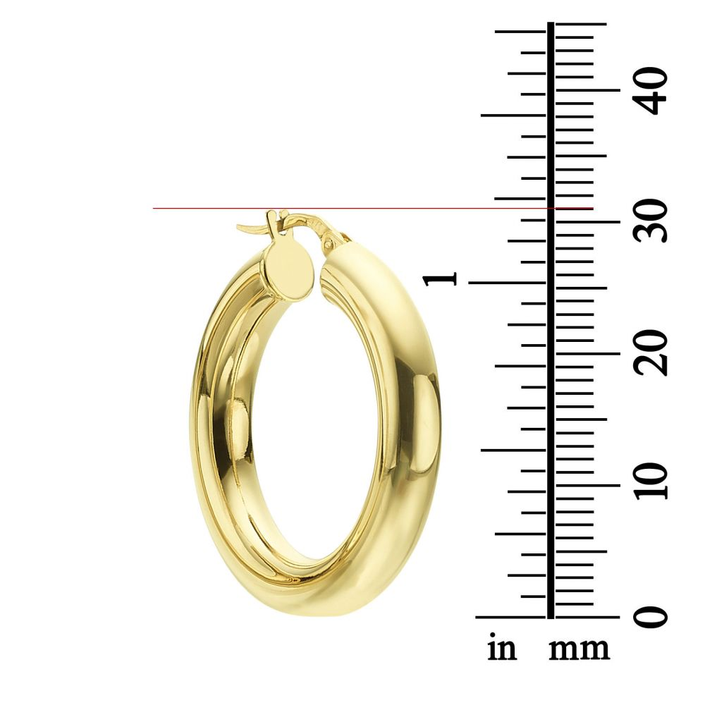 Women's Gold Jewelry | Hoop Earrings in 14K Yellow Gold - M (thick)