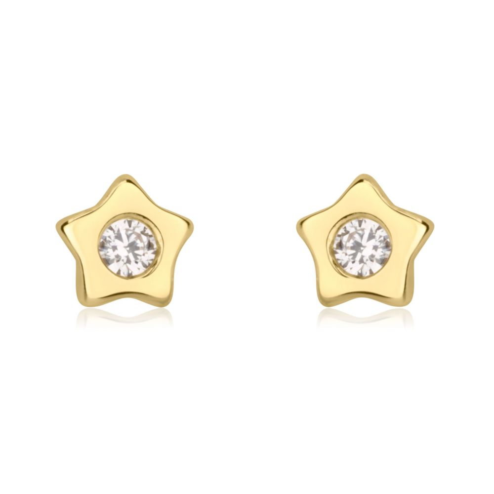 Girl's Jewelry | 14K Yellow Gold Kid's Stud Earrings - Sparkling Star - Delicate