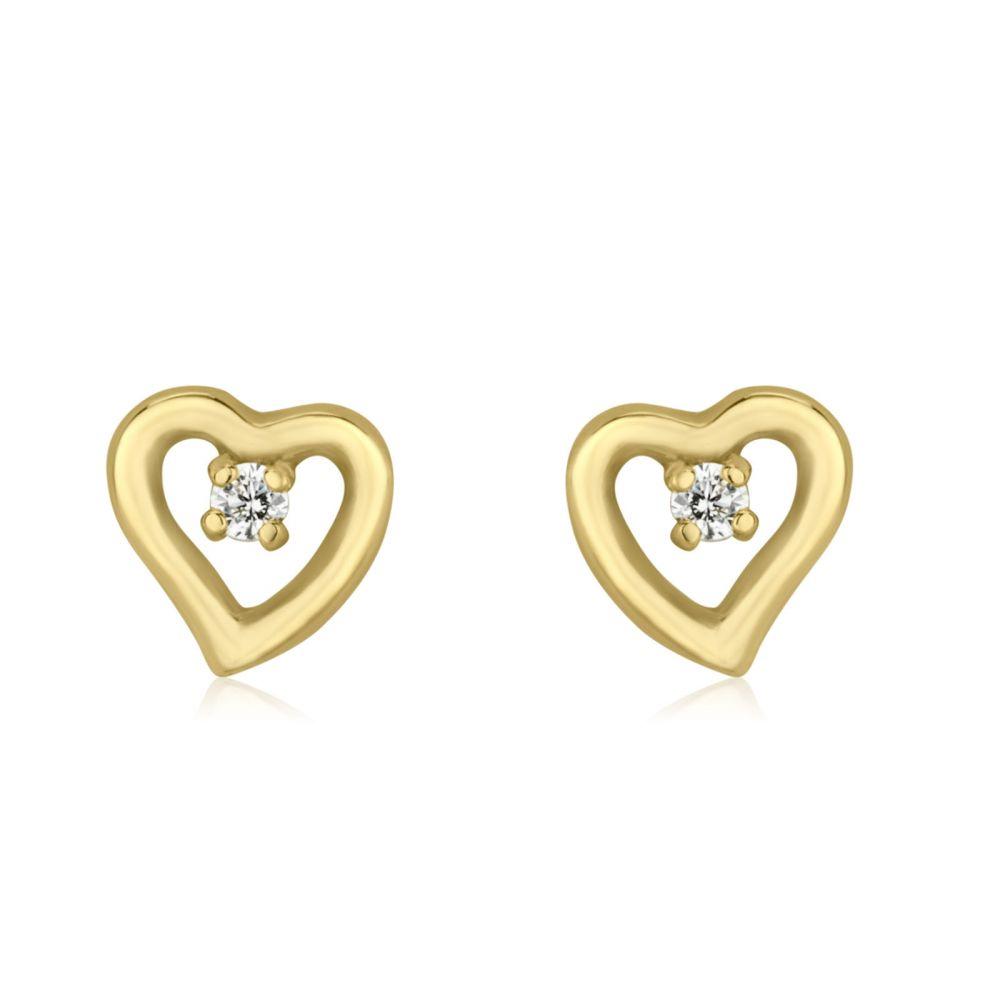 Girl's Jewelry | 14K Yellow Gold Kid's Stud Earrings - Poetic Heart